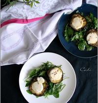 Salade de Chèvre Chaud au Miel & Lavande sur Toasts d'Aubergine