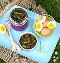 Salade de Lentilles Vertes Paris aux asperges et  œufs mollets