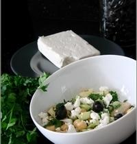 Salade de Pois Chiches, Céleri, Concombre & Pomme à la Feta et aux Olives