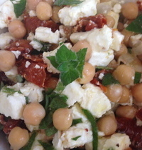 Chick pea salad with feta and sun-dried tomatoes