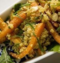 Quinoa salad with roasted carrots and hazelnuts