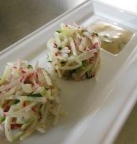 Salade de radis et courgettes, sauce aux herbes