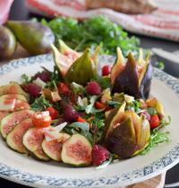 Salade figue picodon à la vinaigrette framboise