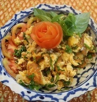 Salade omelette épicée thaï   larb kai sa moon pai