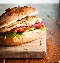 Chicken and garlic-aioli sandwiches