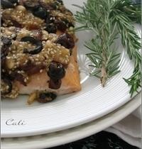 Saumon en Crumble d'Olive, Sésame & Pignons