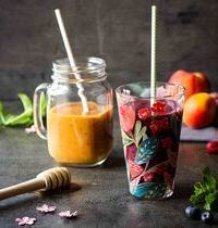 Smoothies d'été (abricot-nectarine & banane-fruits rouges)