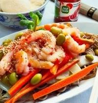 Soba aux crevettes pimentées et petits légumes, au Vitaliseur de Marion