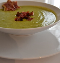 Broccoli gorgonzola and capocollo soup