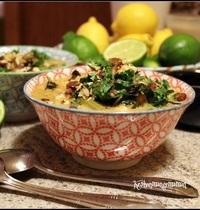 Soupe de pois chiche et kale au curry coco