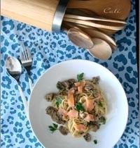 Spaghetti aux Champignons & Saumon Fumé