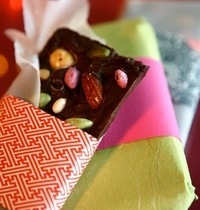 Homemade chocolate candy gift bars