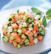 Tartare de melon feta concombre et menthe