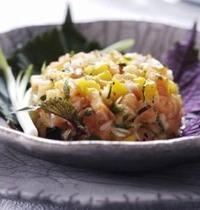 Salmon and mango tartare with cilantro