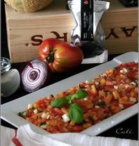 Tartare Tomate/Melon au Basilic & à la Tomme du Pays Basque