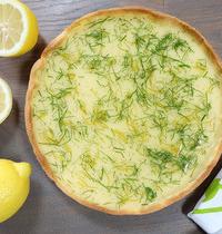 Tarte au citron, gelée de citron vert et menthe