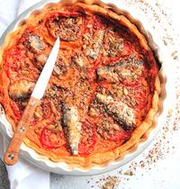 Tarte au fromage de chèvre frais et sardines