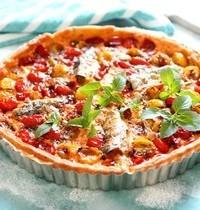 Tarte au fromage frais, tomates cerises et sardines