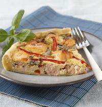 Tarte au saumon mariné et petits légumes poêlés à l'Arome