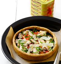 Tarte aux tomates confites, brisures de sardines et chorizo
