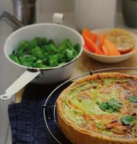 Tarte carottes, citrons confits et coriandre