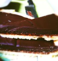 Crunchy caramel and chocolate tart