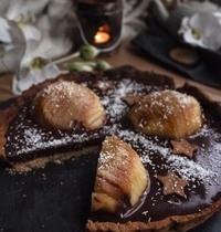 Tarte chocolat, poire et coco