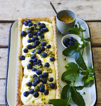 Lemon-blueberry passion tart