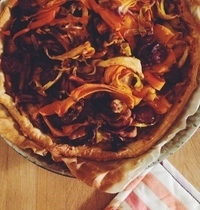 Autumn pie with carrot petals