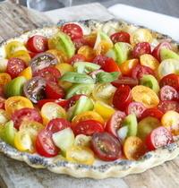 Tarte fine ricotta basilic et petites tomates