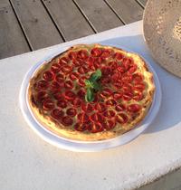 Tarte légère aux tomates cerises et pesto