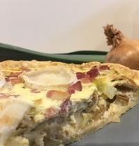 Quiche poireaux, chèvre, lardons