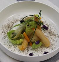 Tempura de légumes, petits suisses et menthe fraîche