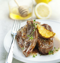 Sliced veal breast marinated in lemon, honey and thyme.