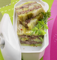 Leek terrine with ox tail and herbs
