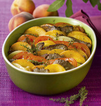 Lamb tian with peaches