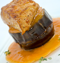 Turbot roasted with mild spices, slow-cooked eggplant, sweet and sour sauce
