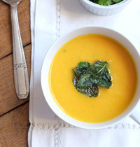Carrot cream soup with mint crisps