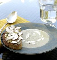 Velouté de champignons, tartine gourmande